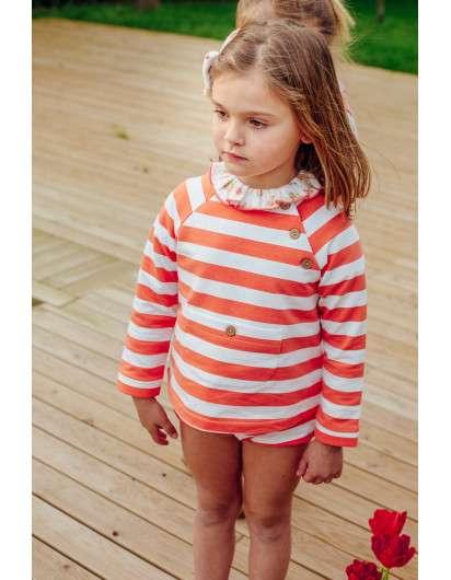 Sudadera  Rayas Jogging Baby Paris Coral
