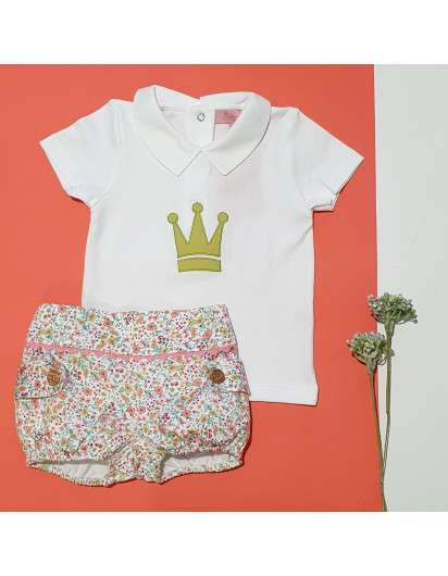 Conjunto Yvonne Eva Castro Bombacho y Camisa Coral Niño