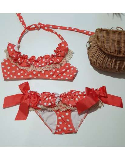 Bikini La Martinica Topitos Coral Niña